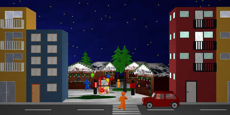 Cityscape with a view of a Christmas market. 3d rendering Standard-Bild