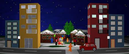 Hauptstraße mit Blick auf einen Weihnachtsmarkt. Panorama, 3D-Rendering