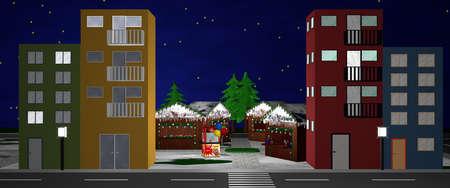 人なしのクリスマス マーケットを見下ろすメイン ・ ストリート。3 d レンダリング