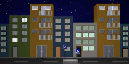 Huizenfront met kleurrijke huizen, van vooraanzicht. 3D-rendering Stockfoto