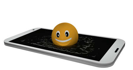 Emoticon jumps into a display of water. 3d rendering