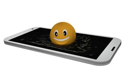 Emoticon springt in eine Anzeige des Wassers . 3D-Rendering Standard-Bild - 91678768