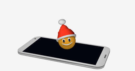 Emoticon with Santa hat on the display of a mobile phone. 3d rendering