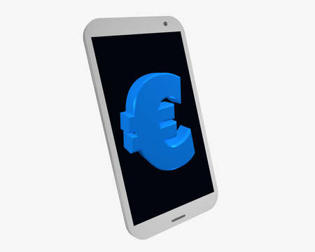 white mobile phone with euro sign, isolated on white. 3d rendering Standard-Bild - 91860040