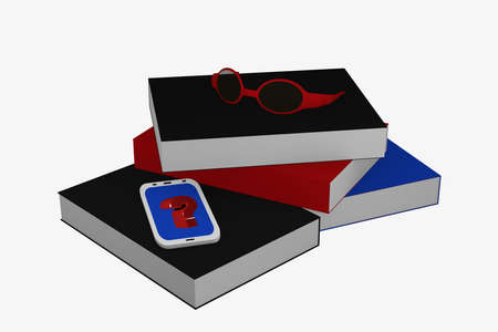 Books stack on which a cell phone with question mark and a pair of glasses lies. 3d rendering