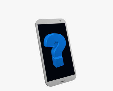 white mobile phone with question mark, isolated on white. 3d rendering Standard-Bild - 91626752