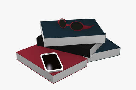 Stack of books on which a cell phone and glasses are lying. 3d rendering Standard-Bild - 91860043