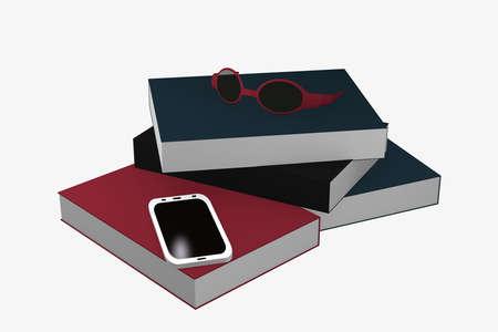 Stapel Bücher auf einem Handy , und Gläser liegen . 3D-Rendering Standard-Bild - 91860043
