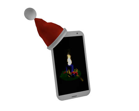 Mobile phone with Santa hat and Advent picture with candle. 3d rendering Standard-Bild - 91860044