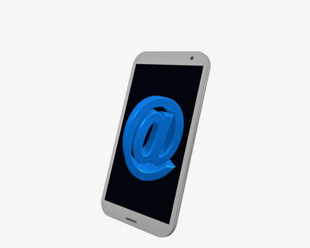white cell phone with @ sign, isolated on white. 3d rendering Standard-Bild - 91630324
