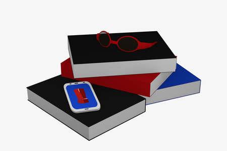 Stapel Bücher auf einem Handy mit Ausrufezeichen und einem Paar von Gläsern . 3D-Rendering Standard-Bild - 91656806
