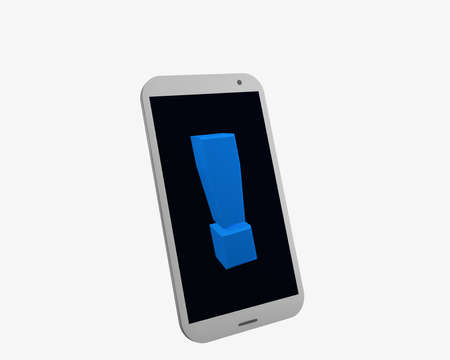 white mobile phone with exclamation mark, isolated on white. 3d rendering Standard-Bild - 91860045