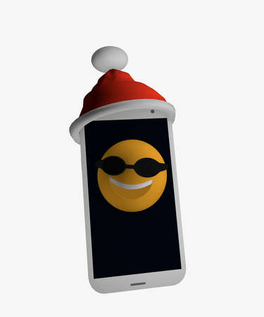 Mobile phone with Santa hat and an emoticon with sunglasses on the phone. 3d rendering