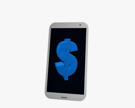 white cellphone with dollar sign, isolated on white. 3d rendering Standard-Bild