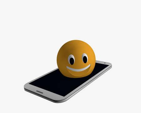Emoticon kommt aus einem Handy . 3D-Rendering Standard-Bild - 91630325