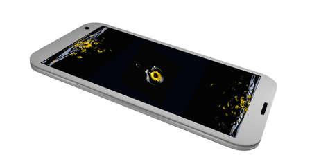 Handy auf seinem Display ist ein Bild mit einem Zweig von Sonnenblumen . 3D-Rendering Standard-Bild - 91656810