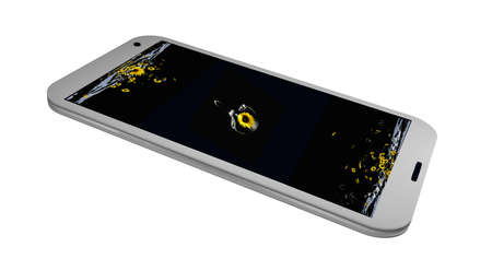 Mobile phone on whose display is a picture with a sea of sunflowers. 3d rendering Standard-Bild - 91656810