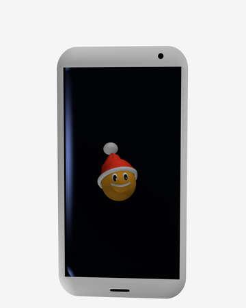 Handy , der auf einem ist mit Sankt-Hut . 3D-Rendering Standard-Bild - 91630326