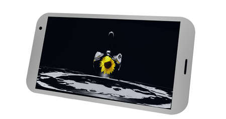 Mobile phone on the display of which is a picture with a drop of water and a sunflower. 3d Rendering Standard-Bild