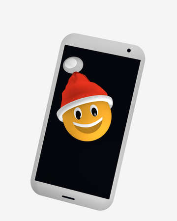 Emoticon with Santa hat looks from the screen of a cellphone 3d rendering
