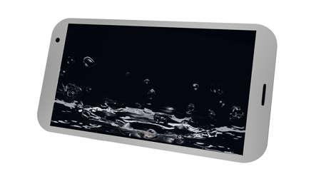 Handy ist auf dem Display platziert Wasser . 3D-Rendering Standard-Bild - 91860052