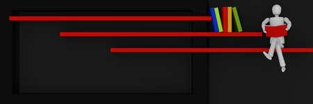 Website Header / Banner in schwarz und rot, mit Bars, auf denen Bücher stehen und eine Puppe Figur sitzt und liest. 3D-Rendering Standard-Bild - 92673532