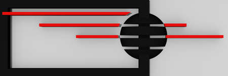 Abstract website header / banner in black, red and white with bars and ball. 3d rendering Standard-Bild - 92673357