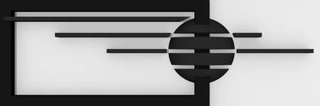 Abstract website header / banner in black, gray and white with stripes and ball. 3d rendering Standard-Bild - 92673362
