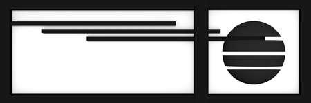 Kopfzeile / Banner für die Website mit Linien, Kugel- und Kastenform in Schwarz, Grau. und weiß. 3D-Rendering Standard-Bild - 92673376