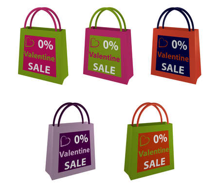 Collection of Shopping Bags with Inscription for Valentine Sale. 3d rendering