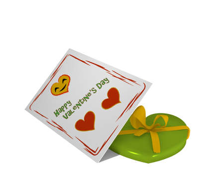 Valentine card with laughing heart and text. In addition a plastic heart with loop. 3d rendering