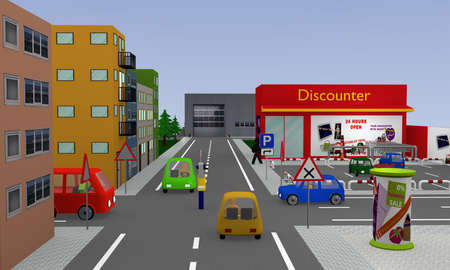 City view with discounter, parking, cars, street signs and policeman with stop sign which regulates the traffic and still shows waiting. 3d rendering Banco de Imagens