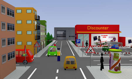 City view with discounter, parking, cars, street signs and policeman with stop sign which regulates the traffic. 3d rendering Banco de Imagens - 94821419