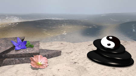 purple flower with orange leaf, rose wild rose, broken stones and pumice with ying-yang symbol on sandy beach in front of the expanse of the sea. 3d rendering Stockfoto