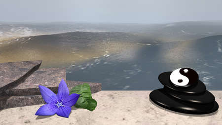 purple flower with orange leaf, broken stones and pumice stones with ying-yang symbol on sandy beach in front of the expanse of the sea. 3d rendering