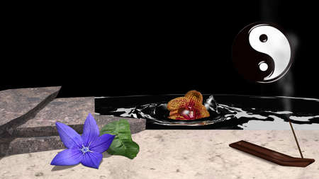 A purple flower with orange leaf lies in front of stone slabs in the sand. In addition an incense stick and in the background an orchid sinking in the water. 3d rendering