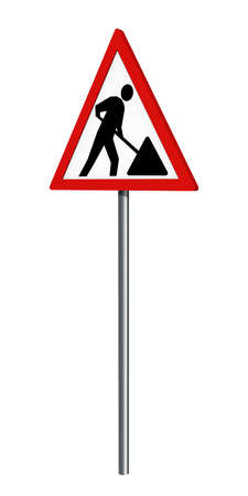 German traffic sign: construction site, isolated on white, 3d rendering Standard-Bild