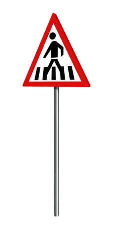 German traffic sign: pedestrian crossing, isolated on white, 3d rendering