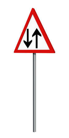 German traffic sign: onward traffic, isolated on white, 3d rendering