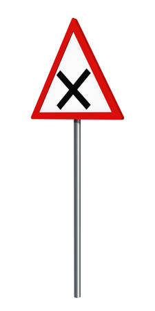 German traffic sign: crossing, isolated on white, 3d rendering