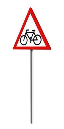 German traffic sign: cyclist, isolated on white, 3d rendering
