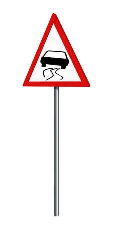 German traffic sign: danger of skidding, isolated on white, 3d rendering Standard-Bild