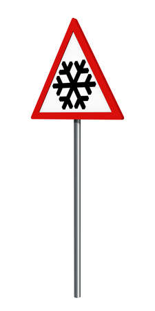 German traffic sign: snow or ice, isolated on white, 3d rendering