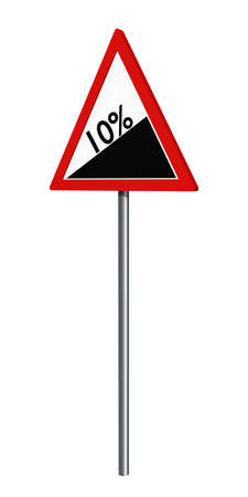 German traffic sign: 10% gradient, isolated on white, 3d rendering