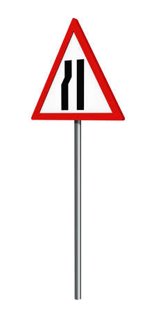 German traffic sign: one-way narrowed roadway, isolated on white, 3d rendering Standard-Bild