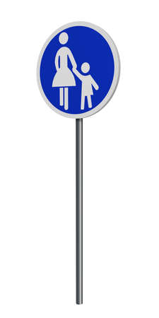 German traffic signs (special path): walkway, isolated on white. 3d rendering Standard-Bild