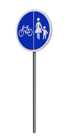 German traffic signs (special path): separate footpaths and cycle paths, isolated on white. 3d rendering Standard-Bild