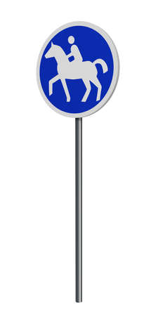 German traffic signs (special path): bridle path, isolated on white. 3d rendering