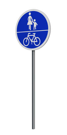 German traffic signs (special path): shared bicycle and walkway, isolated on white. 3d rendering Standard-Bild