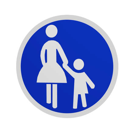 German traffic sign (special routes): sidewalk, isolated on white in front view. 3d rendering Standard-Bild